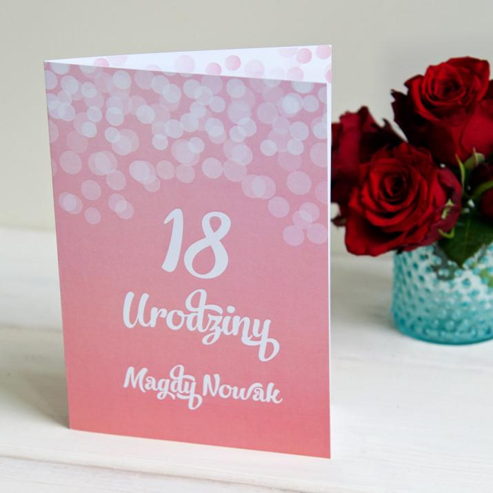 18 urodziny brokat - kartka z życzeniami