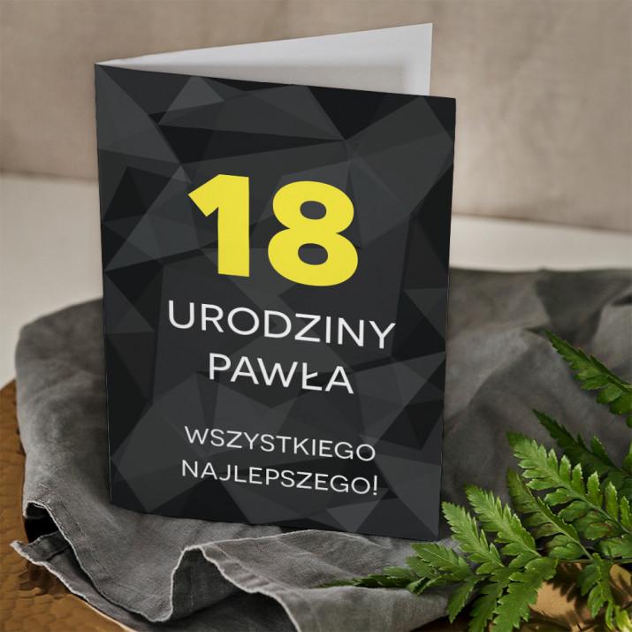 18 urodziny geometryczna - kartka z życzeniami