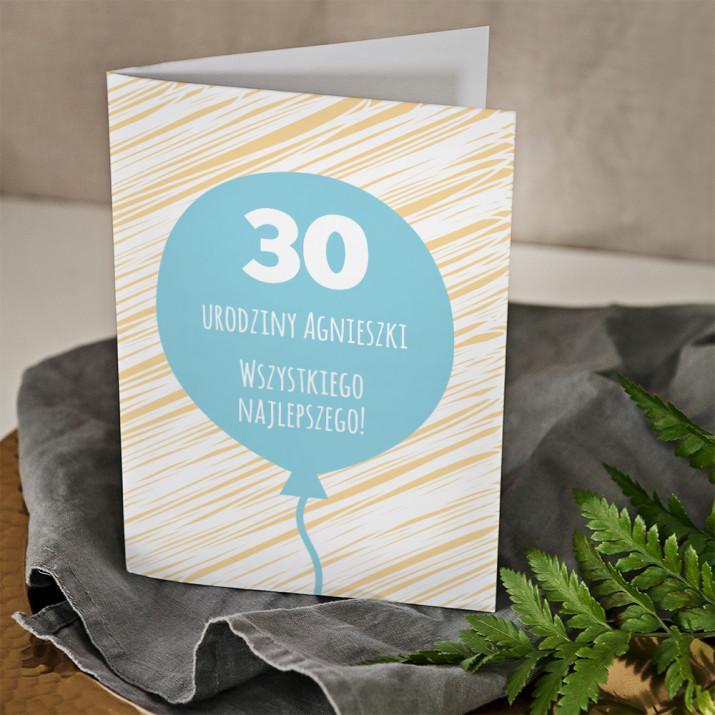 30 urodziny balon - kartka z życzeniami