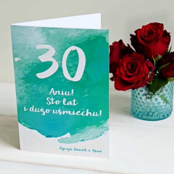 30 urodziny watercolor - kartka z życzeniami
