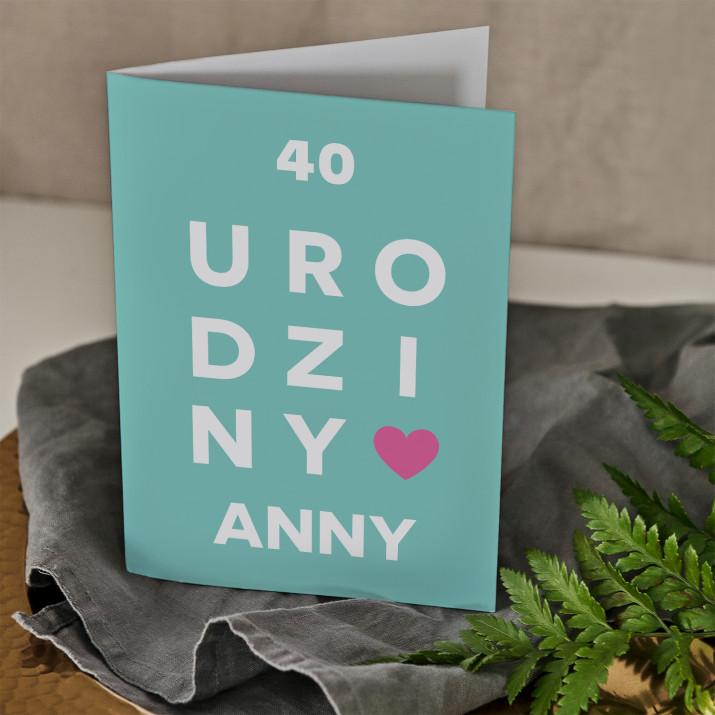 40 urodziny - kartka z życzeniami