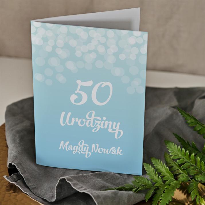 50 urodziny brokat - kartka z życzeniami