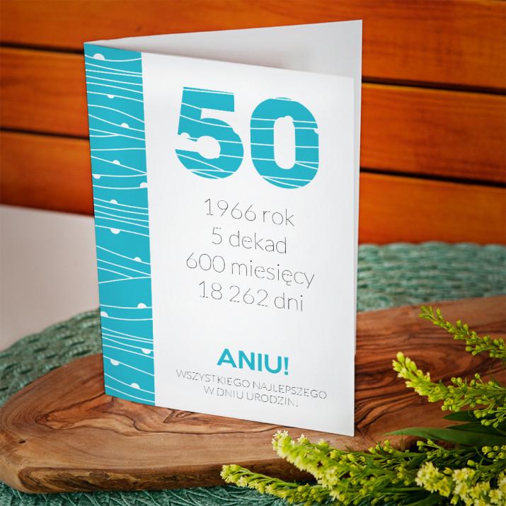 50 urodziny odliczanie - kartka z życzeniami