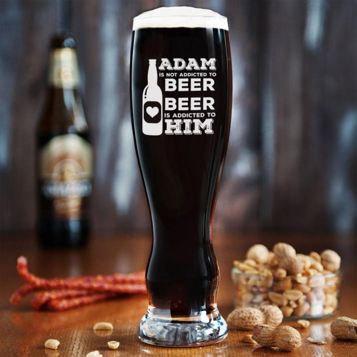 Addicted - Grawerowana Szklanka do piwa