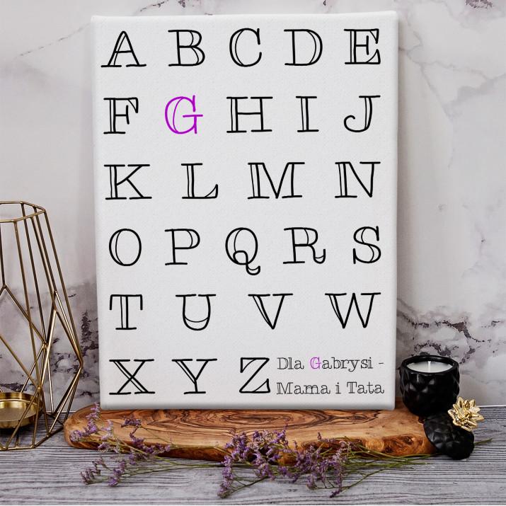 Alfabet - wydruk na płótnie