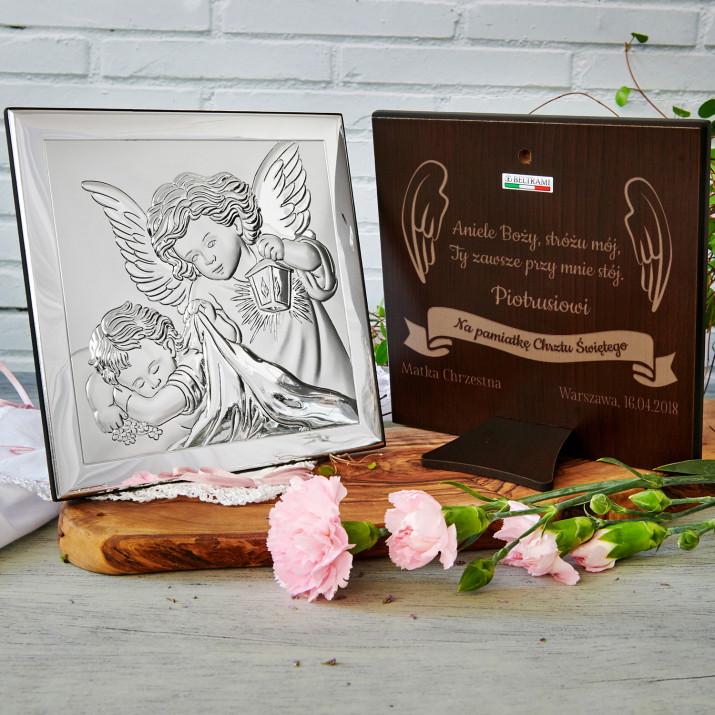 Aniele Boży - Aniołek z latarenką - Srebrny Obrazek z Grawerem