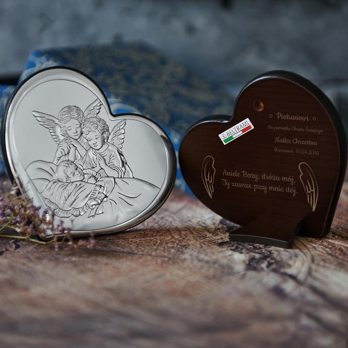 Aniele Boży - Anioły nad dzieckiem - serce - Srebrny Obrazek z Grawerem