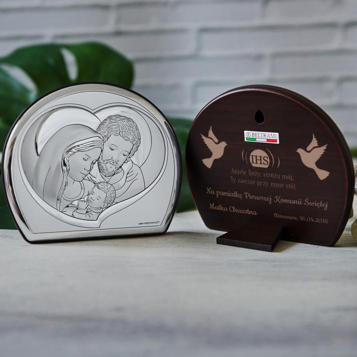 Aniele Boży - Św. Rodzina - Półkole - Srebrny Obrazek z Grawerem