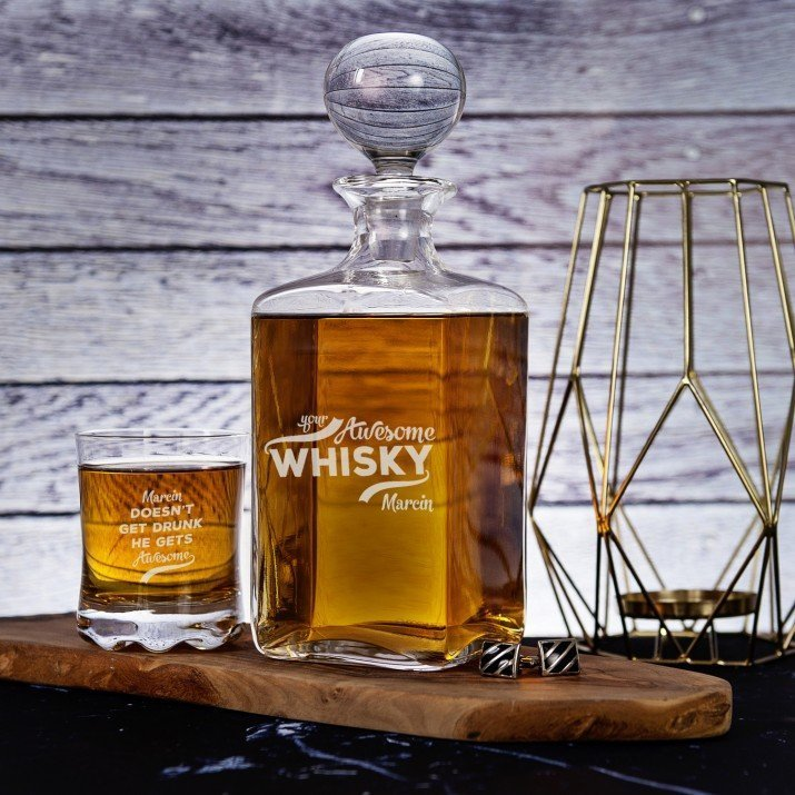 Awesome Whisky - Zestaw Grawerowana Karafka I Szklanki Do Whisky