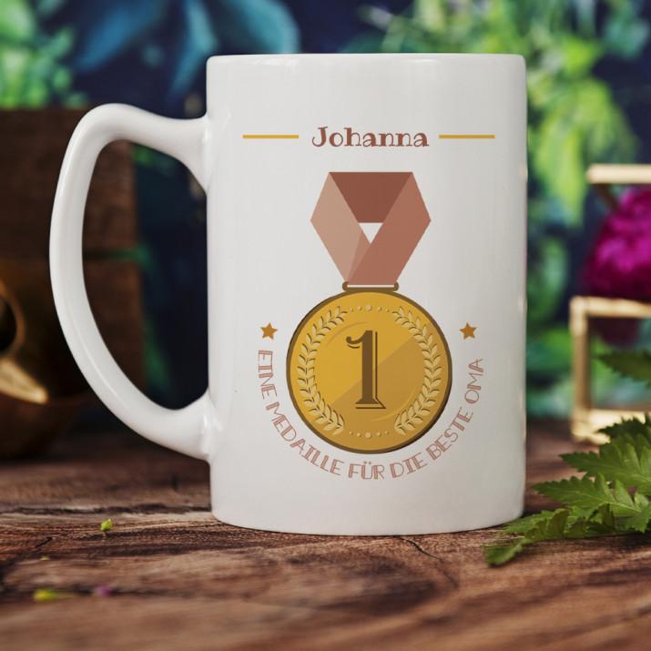 Medaille für Oma - personalisierte Tasse