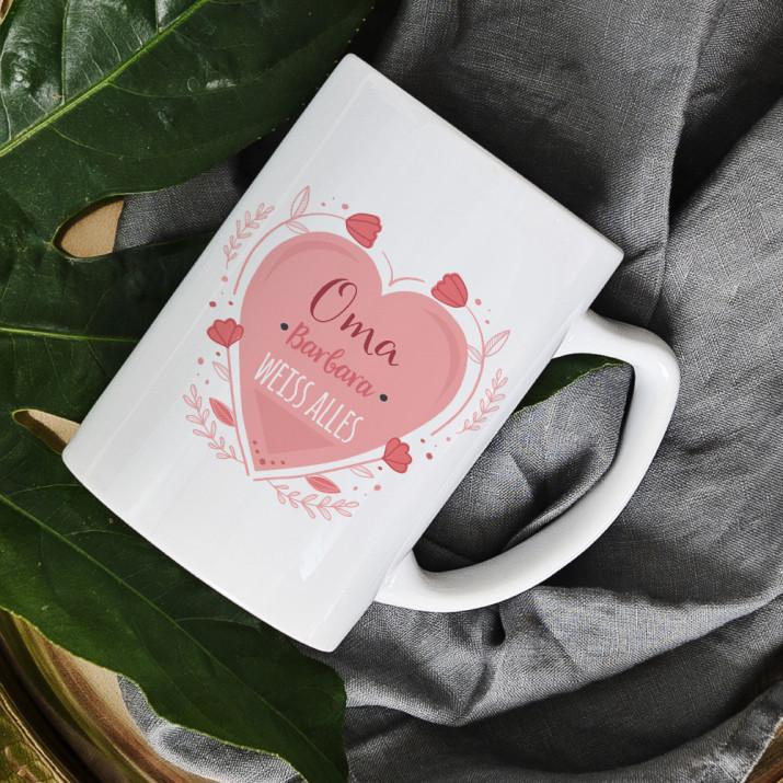 Oma weiß alles - personalisierte Tasse