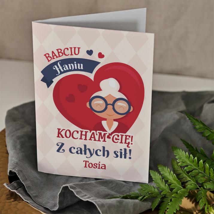 Babciu kocham Cię - kartka z życzeniami na dzień babci