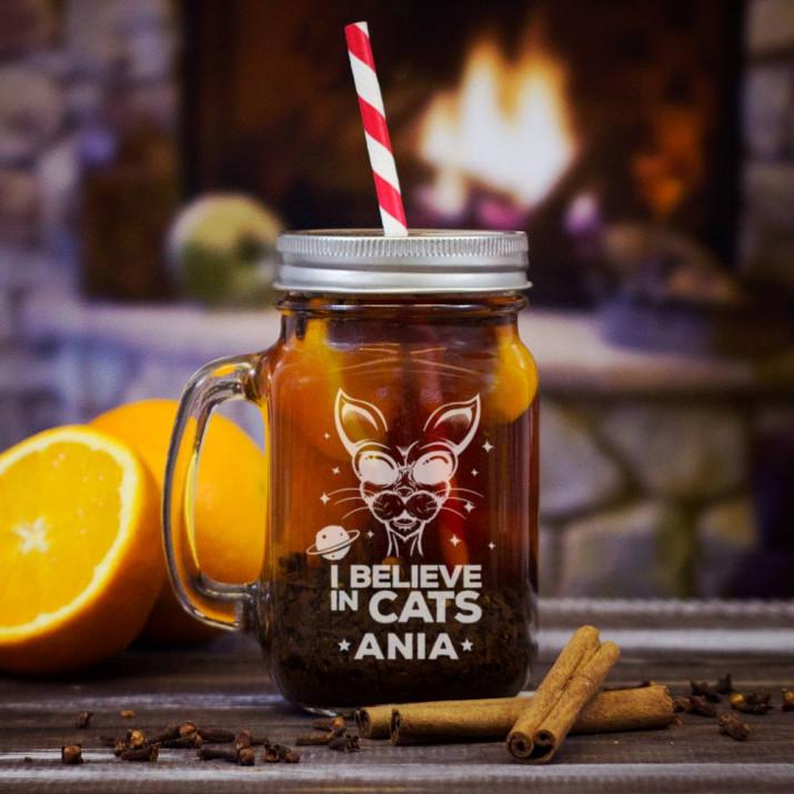 Believe in cats - Grawerowany słoik z uchem
