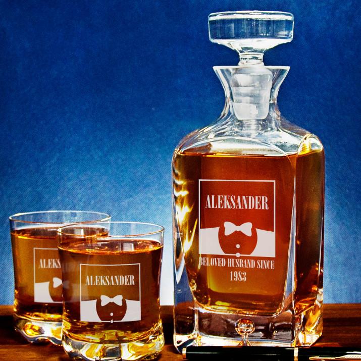 Beloved Husband - Zestaw Grawerowana Karafka I Szklanki Do Whisky
