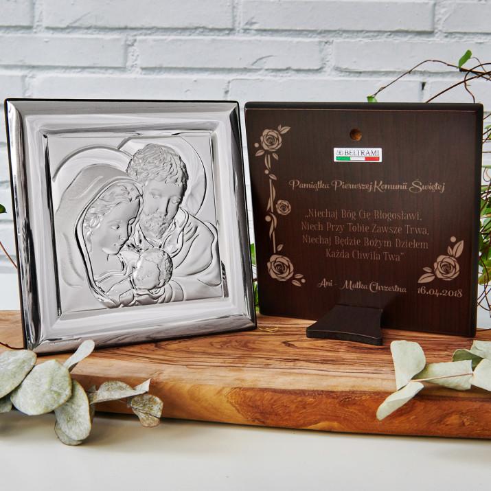 Błogosławieństwo - Święta Rodzina - Kwadrat - Srebrny Obrazek z Grawerem