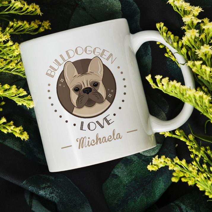 Bulldoggen love - personalisierte Tasse