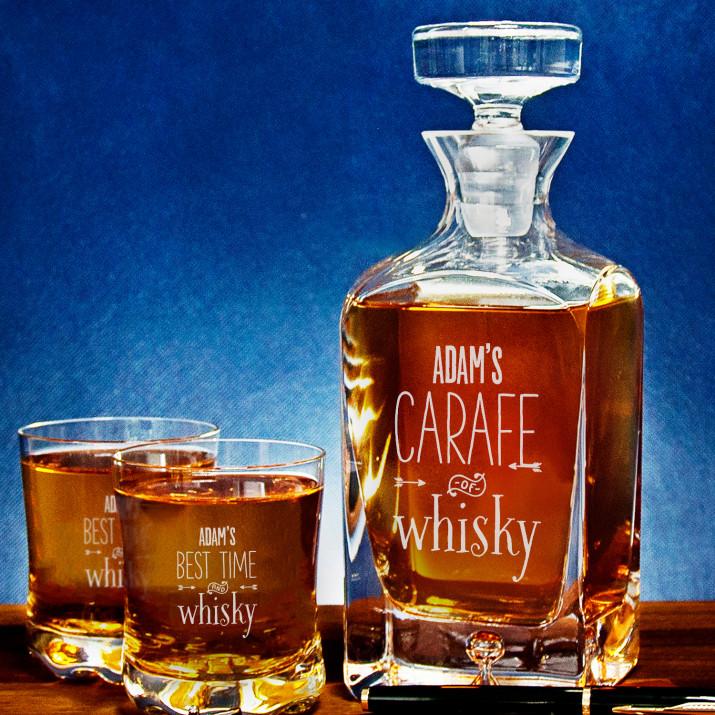 Carafe of whisky - Zestaw Grawerowana Karafka I Szklanki Do Whisky