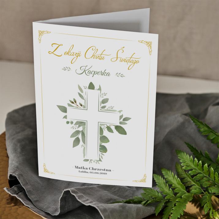 Chrzest święty listki - kartka z życzeniami