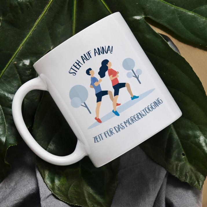 Zeit für Morgenjogging - personalisierte Tasse
