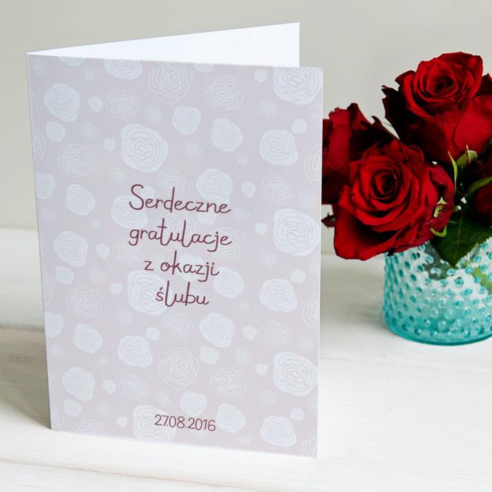 Delikatne róże - kartka z życzeniami