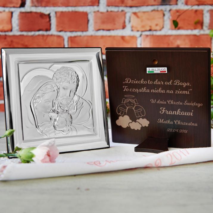 Dziecko to dar od Boga - Św. Rodzina - Kwadrat - Srebrny Obrazek z Grawerem
