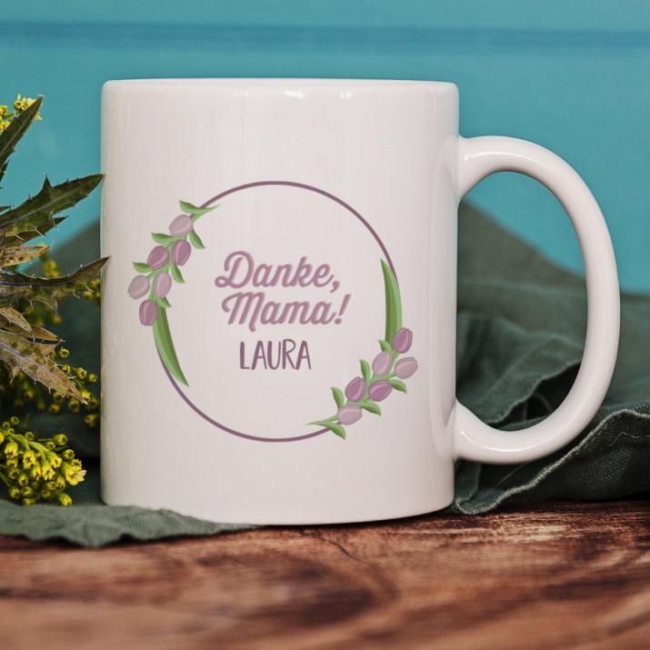 Danke, Mama - personalisierte Tasse