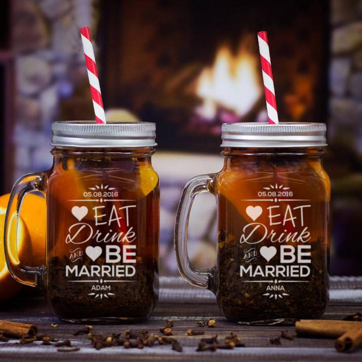 Eat, Drink & Be Married - Dwa grawerowane słoiki