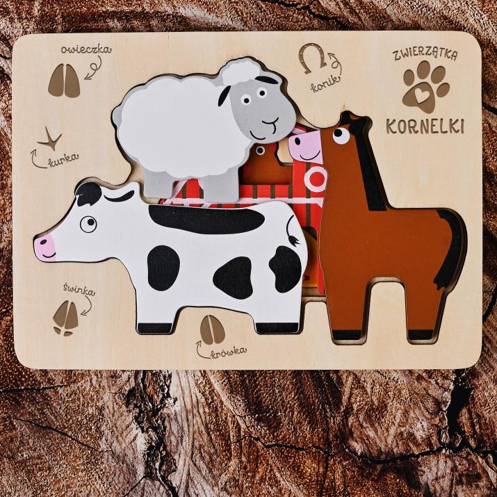 Farma - Drewniane puzzle warstwowe: Zwierzęta