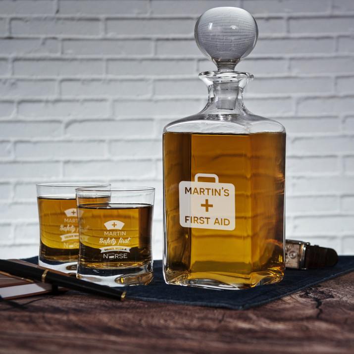First Aid - Zestaw Grawerowana Karafka I Szklanki Do Whisky