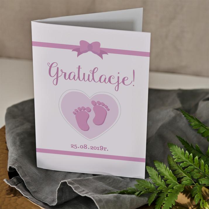 Gratulacje, narodziny dziewczynka - kartka z życzeniami