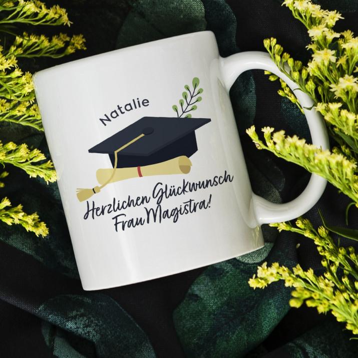 Herzlichen Glückwunsch Magistra - personalisierte Tasse