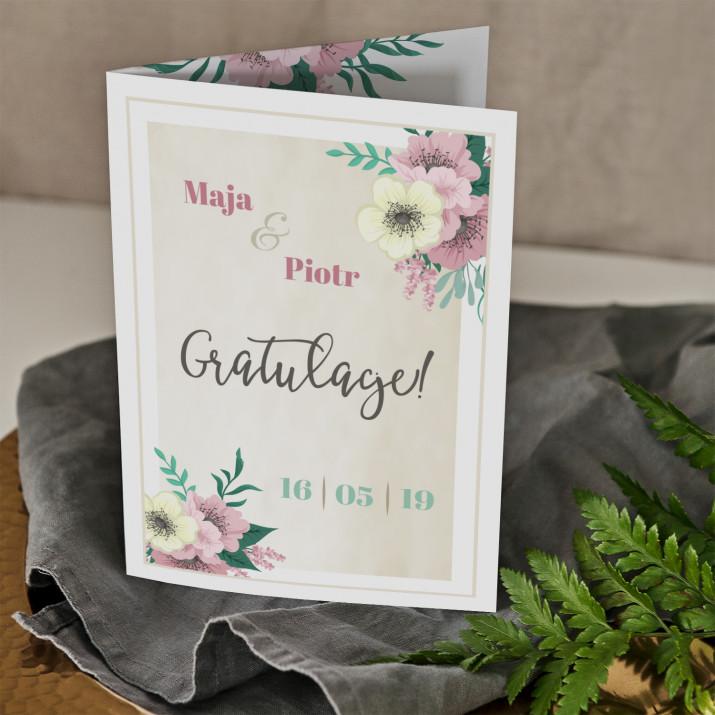 Gratulacje ślubne kwiaty - kartka z życzeniami