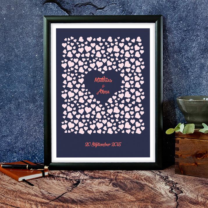 Hearts - Kunstdruck mit Rahmen
