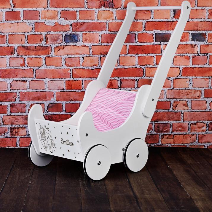 Hello unicorn - Drewniany wózek dla lalek