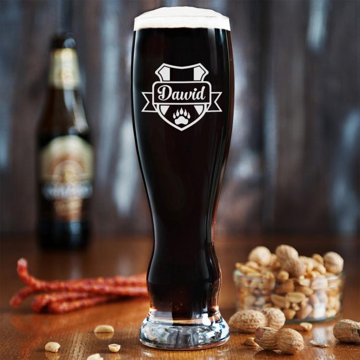 Herb + imię - Grawerowana Szklanka do piwa