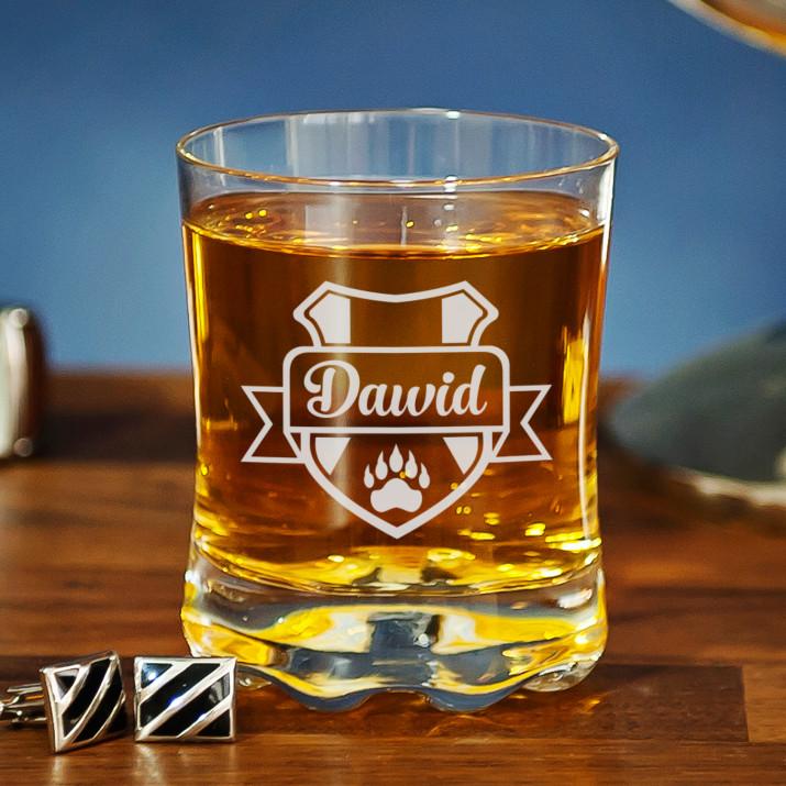 Herb + imię - Szklanka do whisky