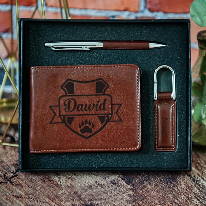Herb + imię - zestaw z portfelem