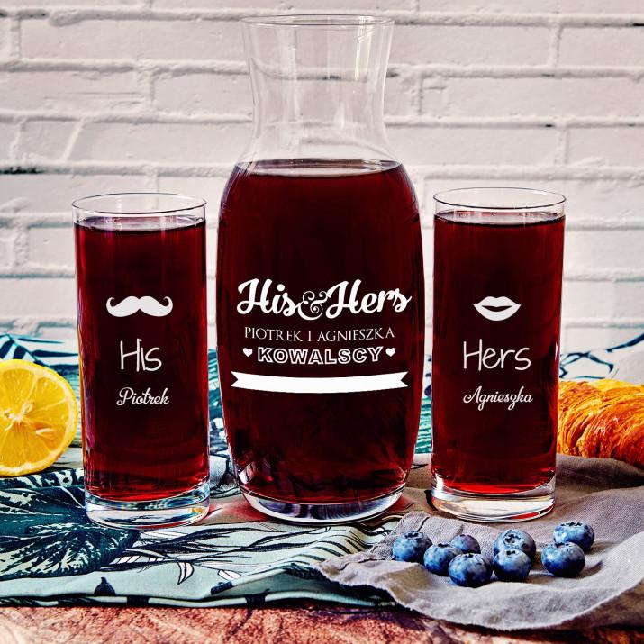His&Hers - Zestaw grawerowana karafka i dwie szklanki