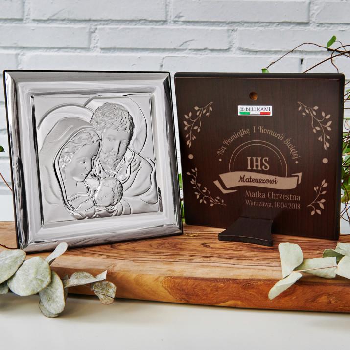IHS - Święta Rodzina - Kwadrat - Srebrny Obrazek z Grawerem