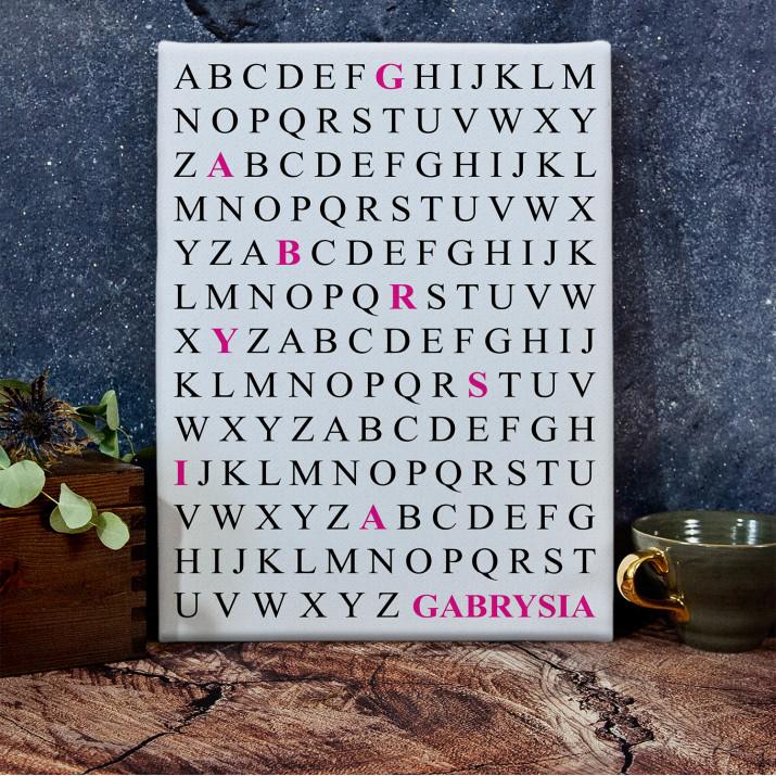 Imię z alfabetu - wydruk na płótnie