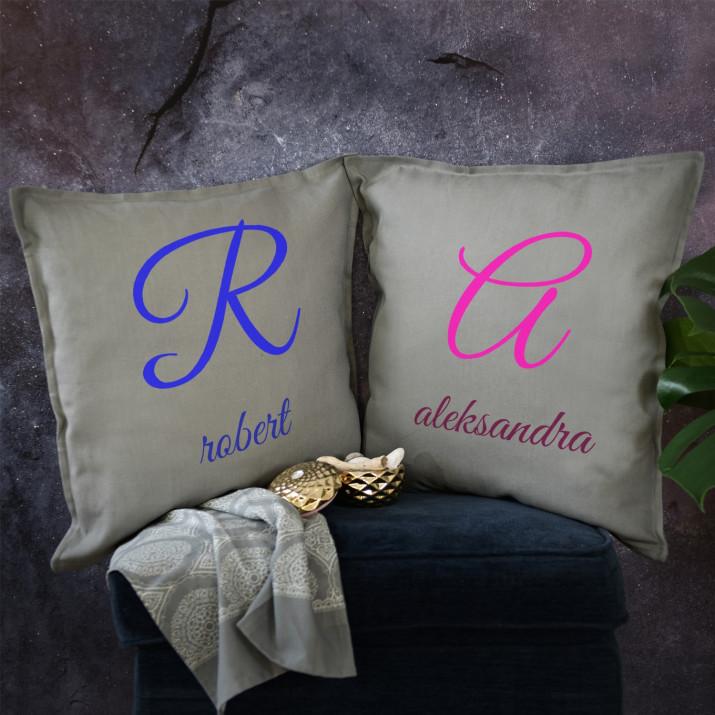 Imiona - Zestaw Dwóch Poduszek Dekoracyjnych