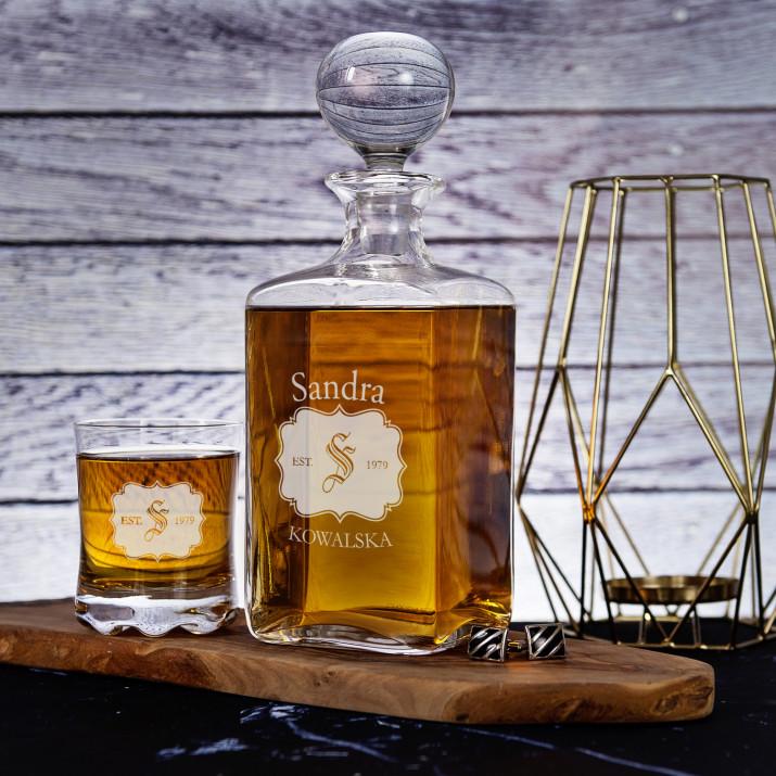 Inicjał - Zestaw Grawerowana Karafka I Szklanki Do Whisky