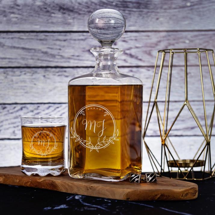 Inicjały 2 - Zestaw Grawerowana Karafka I Szklanki Do Whisky