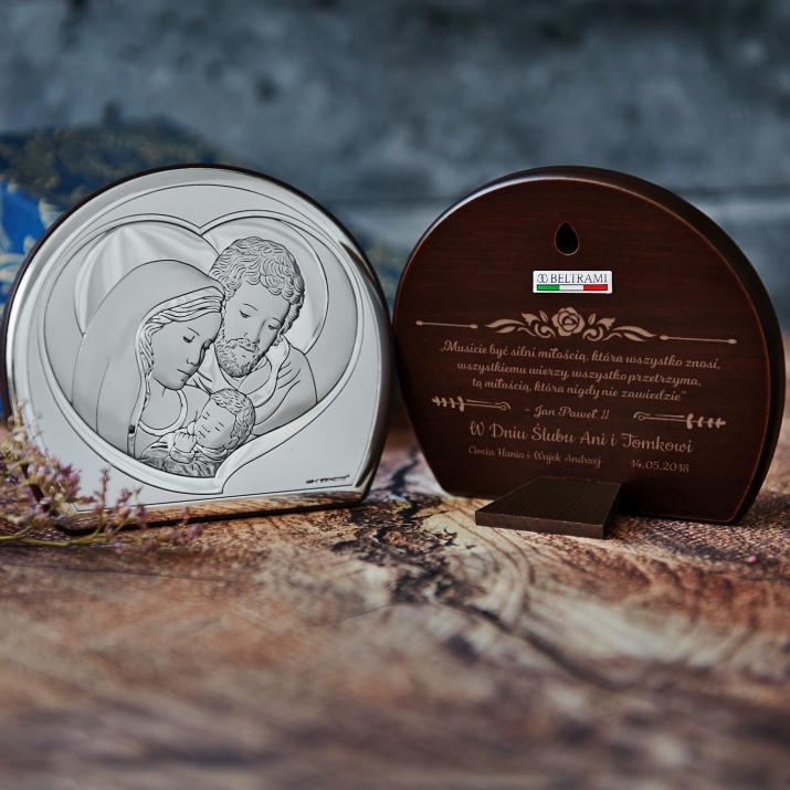 Jan Paweł II - Św. Rodzina - Półkole - Srebrny Obrazek z Grawerem