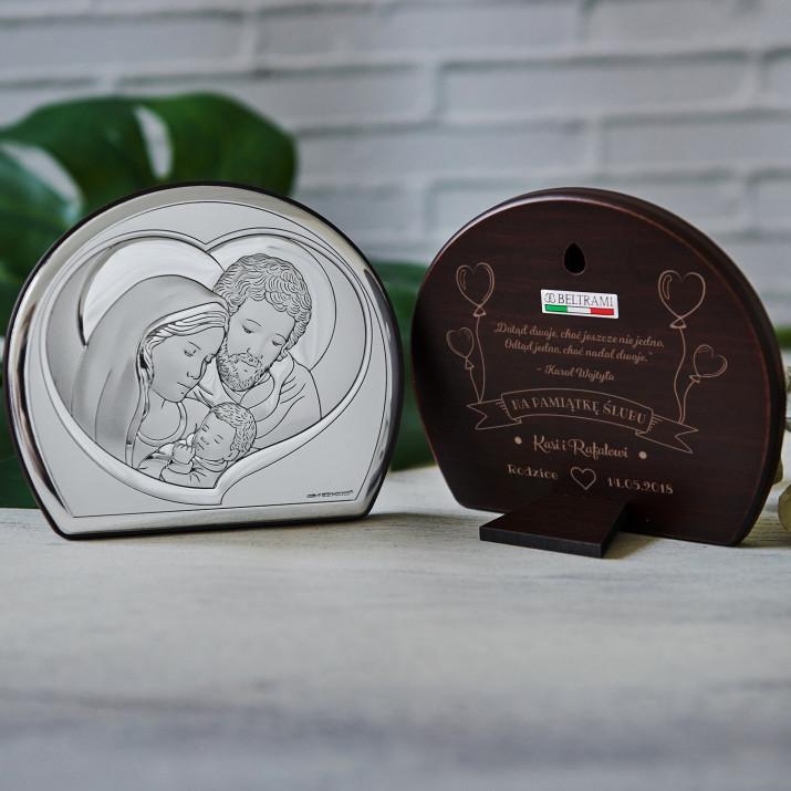 Karol Wojtyła - Św. Rodzina - Półkole - Srebrny Obrazek z Grawerem