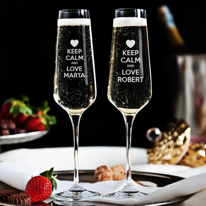 Keep calm and love me - Dwa Grawerowane Kieliszki do szampana