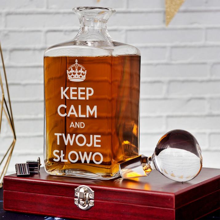 Keep Calm - grawerowana karafka do whisky