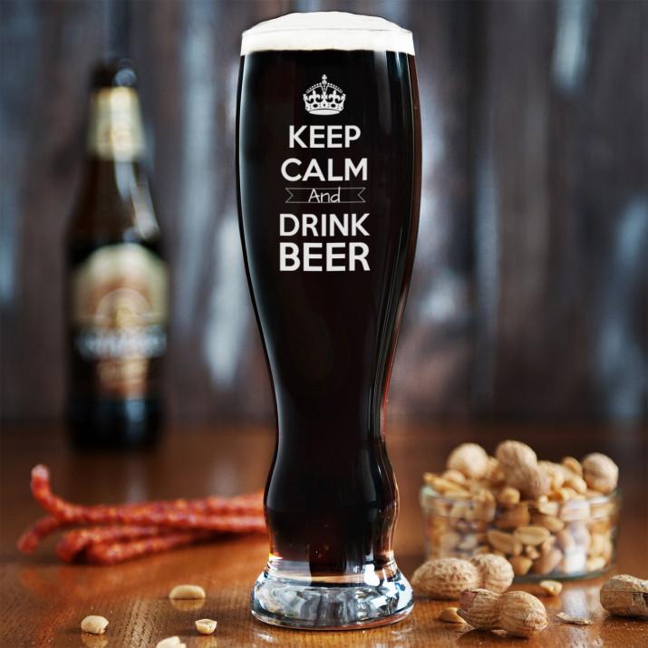 Keep calm - Grawerowana Szklanka do piwa
