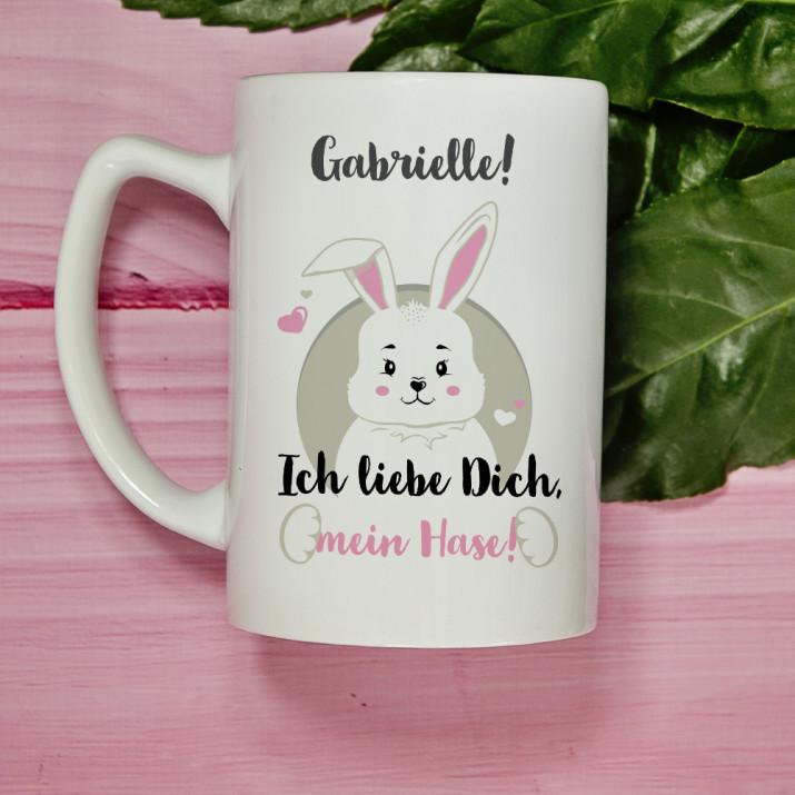 Ich liebe Dich, Mein Hase - personalisierte Tasse