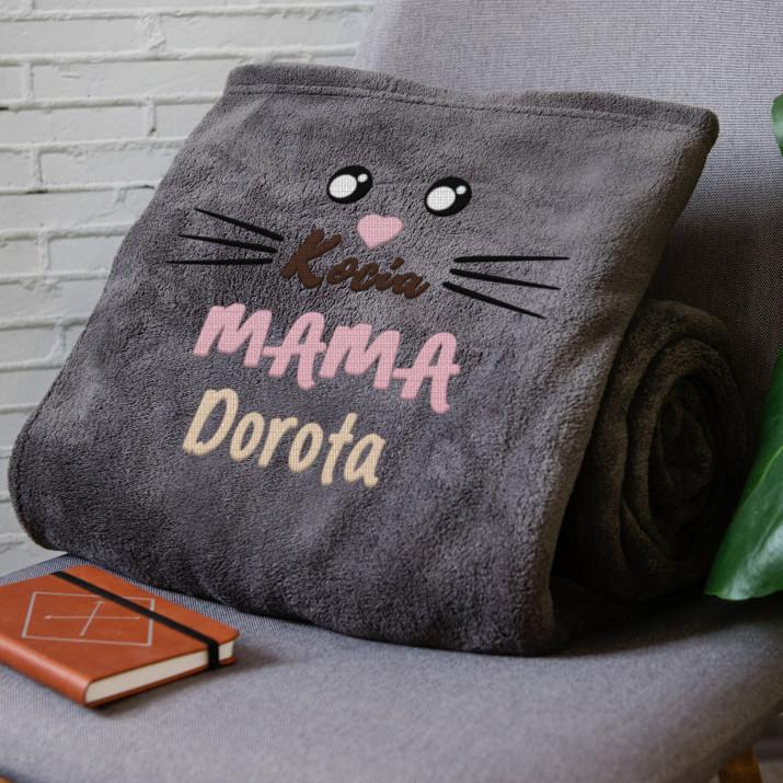 Kocia mama - koc z haftem